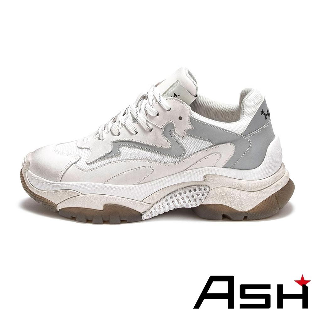 ASH-ADDICT系列時尚潮流休閒拼色刷舊增高老爹鞋-白銀
