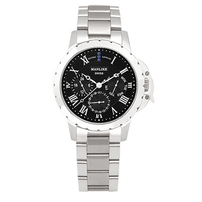 Manlike 曼莉萊克 藍寶石多功能三眼腕錶 銀色 黑面 鋼帶