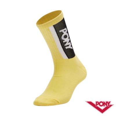 【PONY】中筒襪 運動襪 訓練襪 籃球襪 黃 5入
