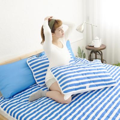 Adorar 平單式針織親水涼感枕墊2入-藍(43x75cm)