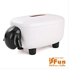 iSFun 黑白綿羊 抽取滾筒面紙巾盒 黑