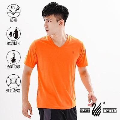 【遊遍天下】MIT中性款輕量V領吸濕排汗機能衫S106桔色