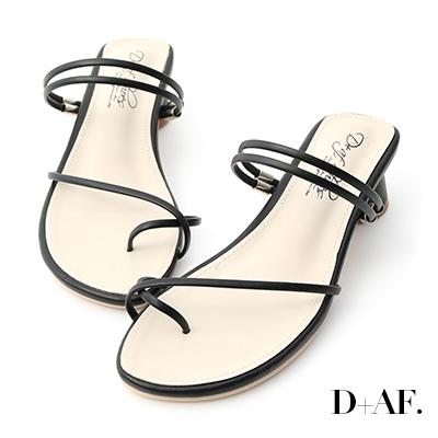 D+AF 清新夏氛.交叉套指2way圓跟涼鞋*黑