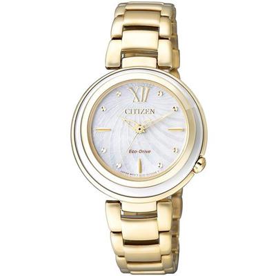 CITIZEN Eco-Drive 經典瑰麗亮眼貝殼時尚腕錶(EM0336-59D)-金