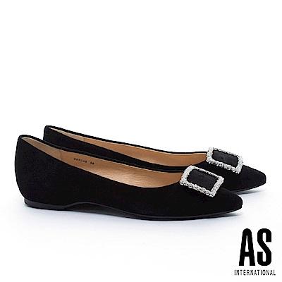 平底鞋 AS 優雅氣質晶鑽方釦羊麂皮內增高尖頭平底鞋-黑