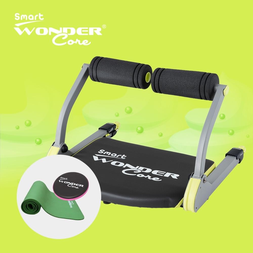 Wonder Core Smart全能輕巧健身機「嫩芽綠」三件組(含運動墊-綠、扭腰盤-粉)