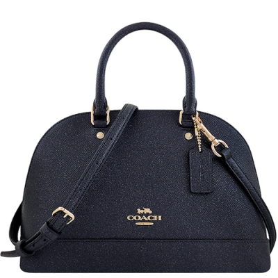 COACH 星夜藍色珠光防刮皮革小型手提/斜背兩用包