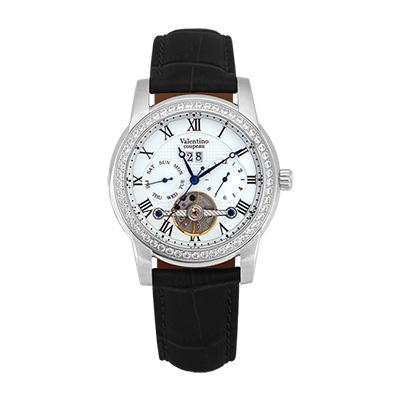 Valentino Coupeau 范倫鐵諾 古柏 閃耀晶橋機械錶 (白殻/白面/黑帶)