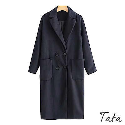 翻領雙排扣長版毛呢外套 TATA
