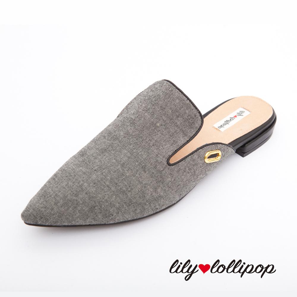 Lilylollipop Agatha尖頭穆勒綁帶平底鞋--灰