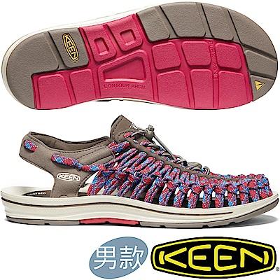 KEEN 1020797咖啡/紅藍 Uneek Flat Cord男戶外編織涼鞋