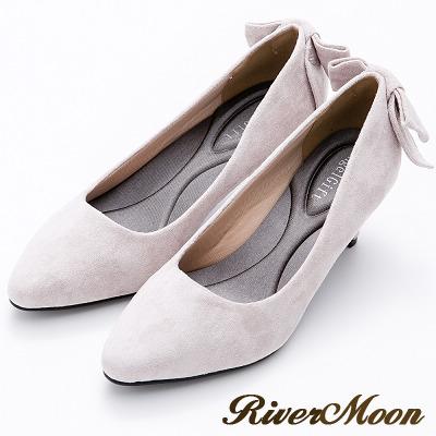 River&Moon甜美後蝴蝶結麂絨記憶鞋墊尖頭跟鞋-淺灰