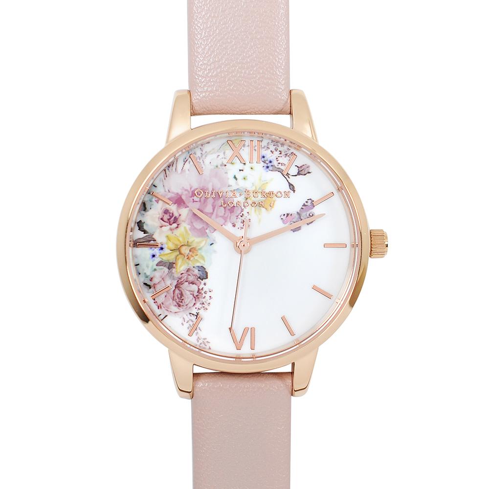 Olivia Burton 英倫復古手錶 魔法花園 玫瑰金框粉色環保皮革錶帶30mm