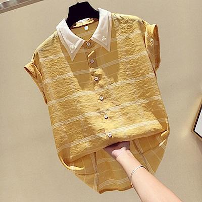初色  短袖條紋雪紡襯衫-共3色-(M-2XL可選)