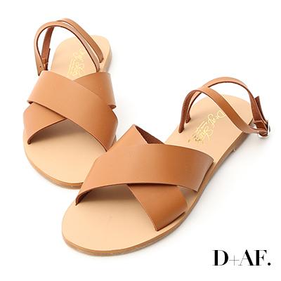 D+AF 自在完美.交叉寬帶繞踝平底涼鞋*棕