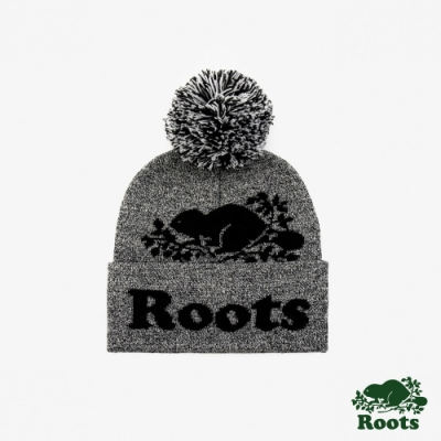 ROOTS 配件- 經典海狸毛球針織帽-灰