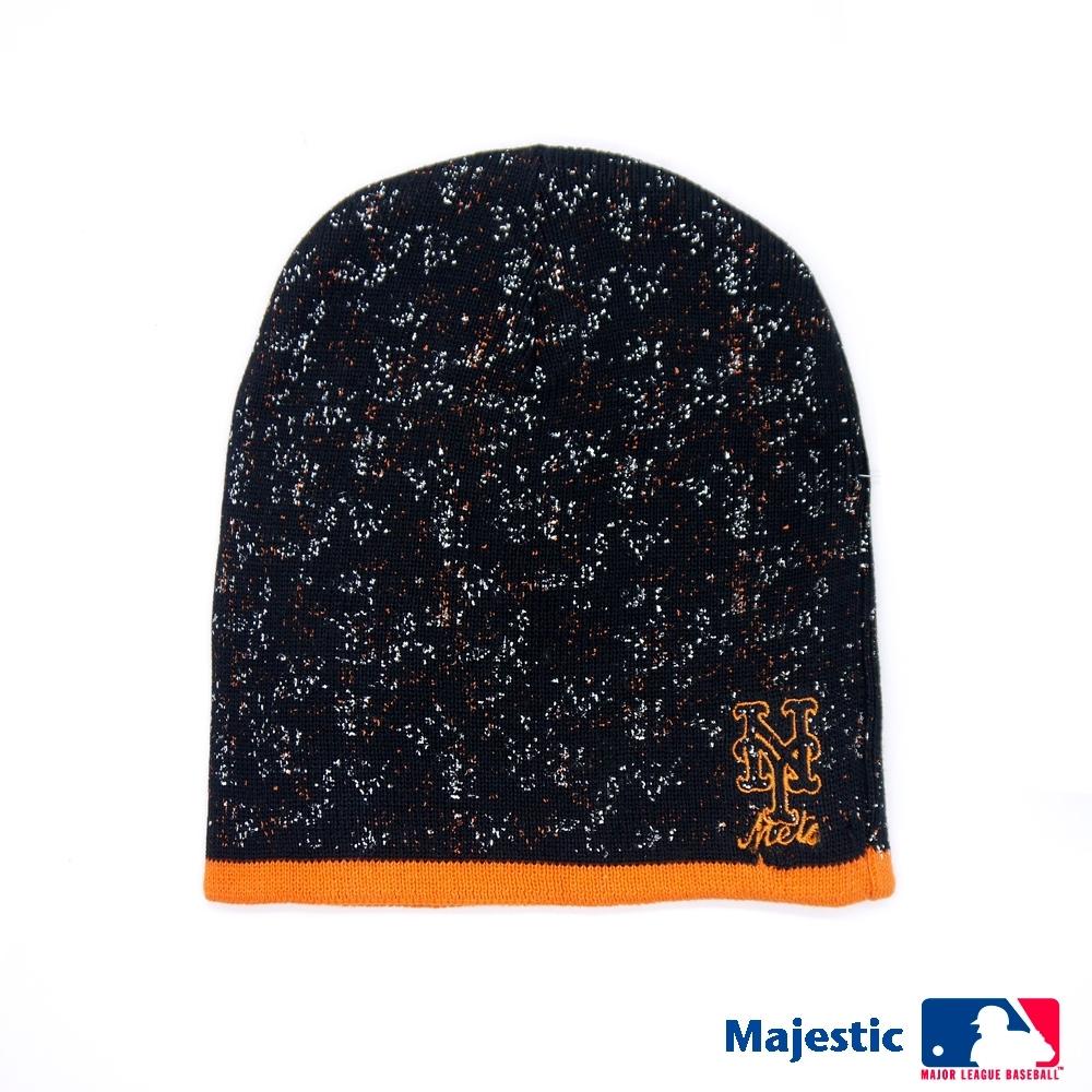 MLB-紐約大都會隊雪花電繡質感毛帽-桔