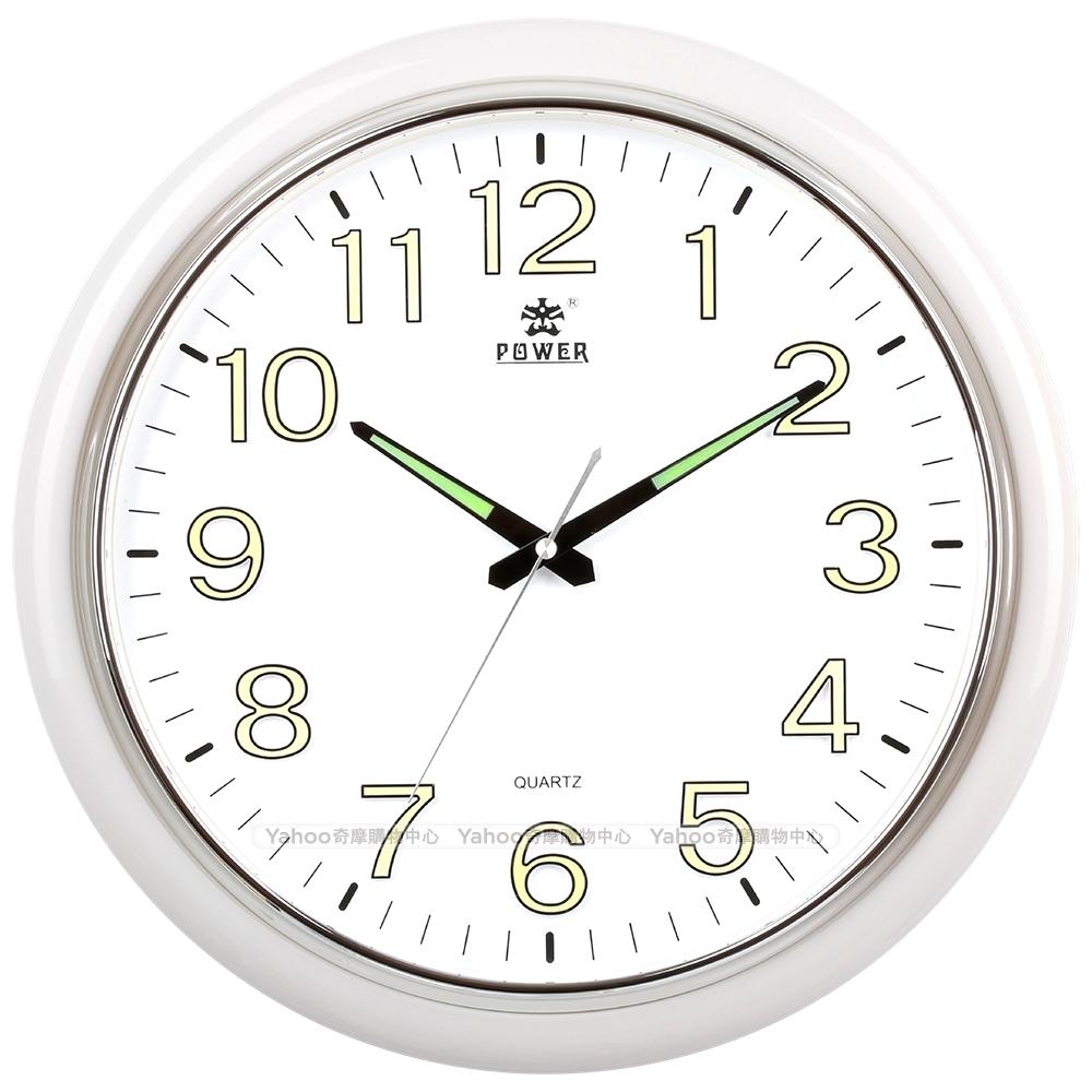POWER霸王鐘錶-高質感螢光大字靜音大掛鐘-雲朵白-PW-8250-WWLKST-41.1CM