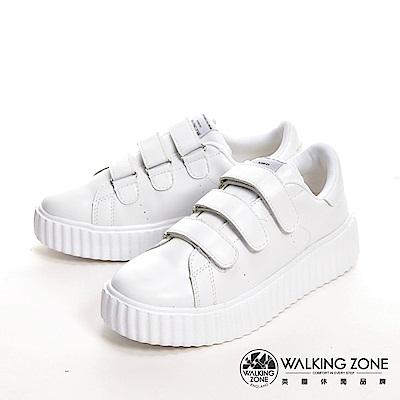 WALKING ZONE 蛋糕系列 黏帶式柔軟增高休閒 女鞋-奶油白