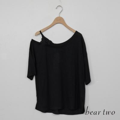 beartwo-蕾絲露肩造型上衣-黑