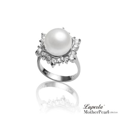大東山珠寶 南洋貝寶珠 璀璨純銀戒指 雪花燦爛 銀
