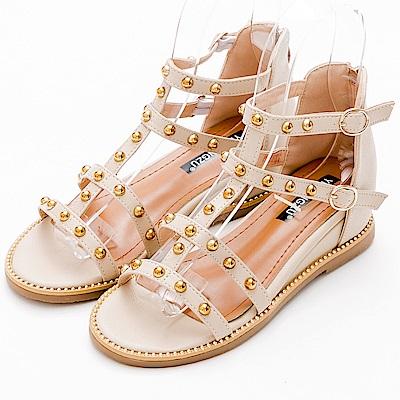 River&Moon涼鞋-金屬鉚釘釦羅馬繫帶楔型涼鞋-米白