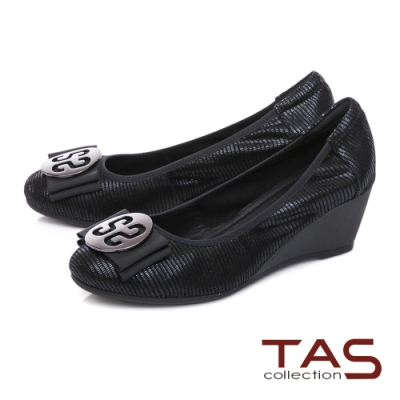TAS優雅飾花蝴蝶結楔型娃娃鞋-個性黑