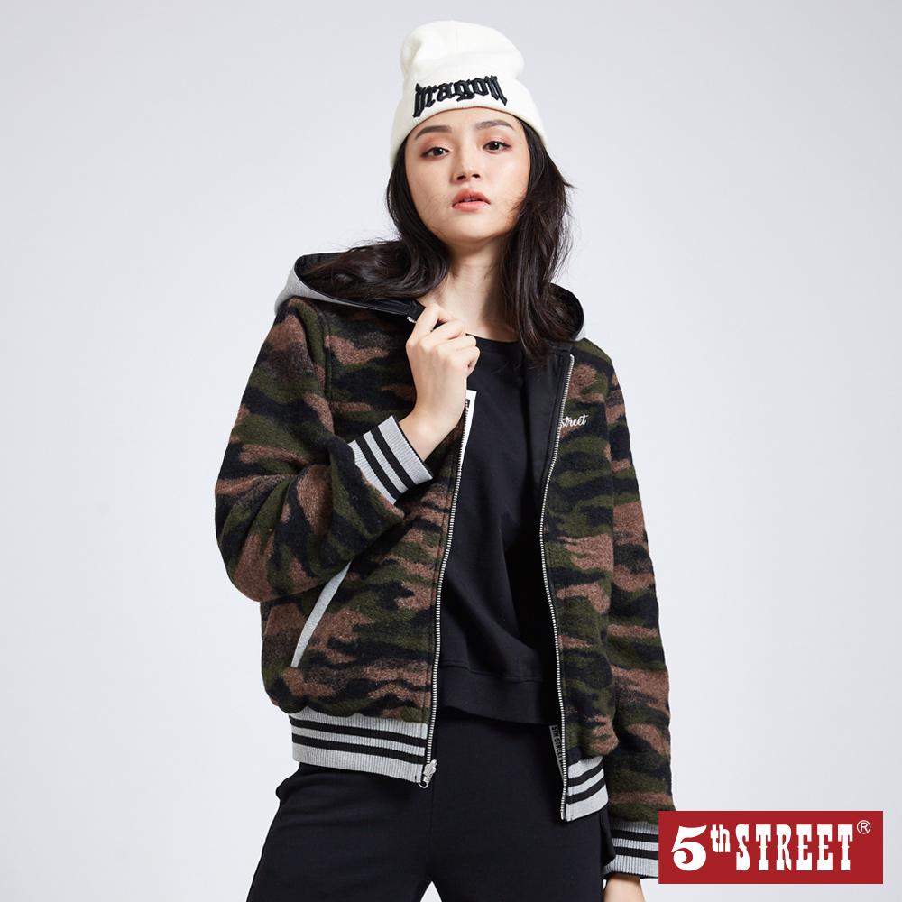 5th STREET 雙面穿迷彩連帽外套-女-黑色