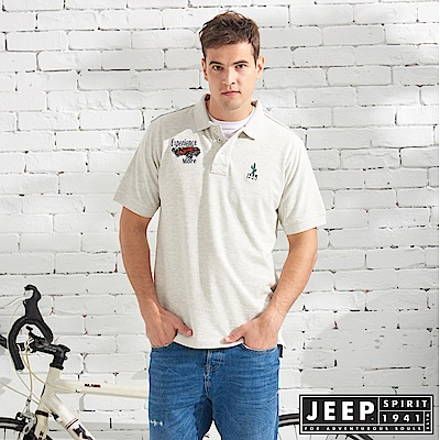 JEEP 質感品牌刺繡短袖POLO衫-灰白色