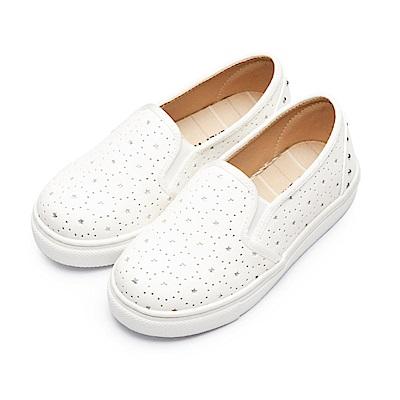 BuyGlasses 星星皮質感兒童懶人鞋-白