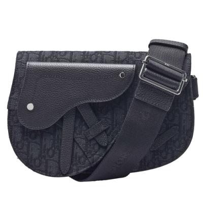 Dior Saddle系列經典OBLIQUE緹花布小牛皮飾邊肩/斜背包(黑)