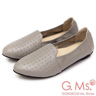 G.Ms. MIT系列-金屬鉚釘牛皮懶人鞋-灰色