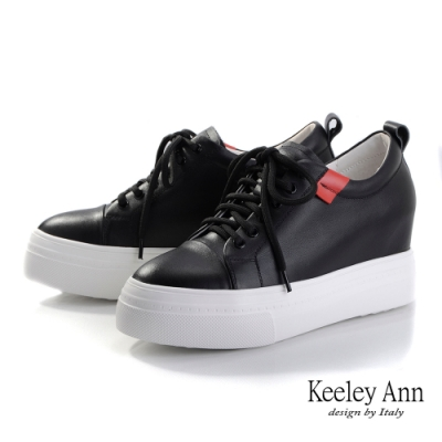 Keeley Ann我的日常生活 素面綁帶厚底內增高鞋(黑色-Ann系列)