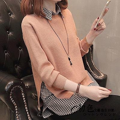 格子襯衫毛衣兩件套-共5色-F可選-初色