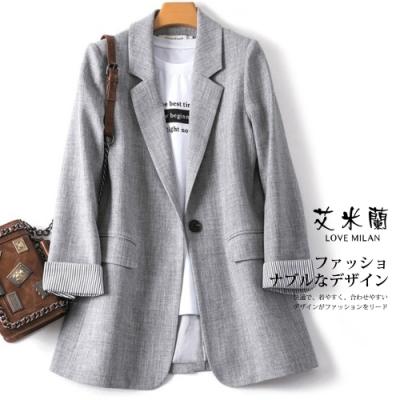 艾米蘭-韓版翻領條紋袖口西裝外套-3色(M-XL)