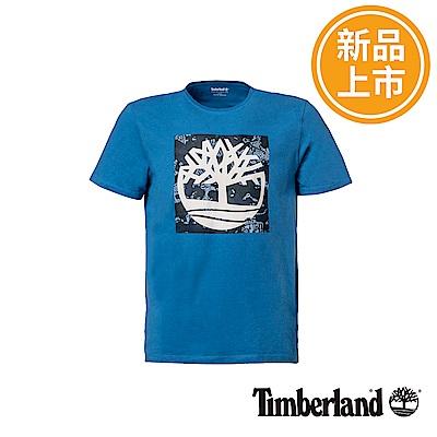 Timberland 男款亮藍色大樹LOGO短袖T恤