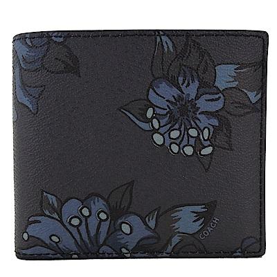 COACH  新款花朵皮革八卡對開中性短夾(藍)