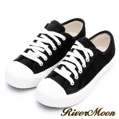 River&Moon餅乾鞋-韓系燈芯絨綁帶厚底休閒鞋 黑