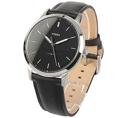 FOSSIL 極簡主義三針黑色皮革腕錶-(FS5398)-43mm