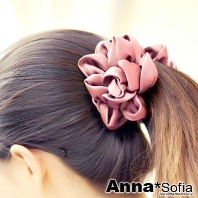 【2件7折】AnnaSofia 花綻亮緞 中大型髮夾豎夾(甜粉系)