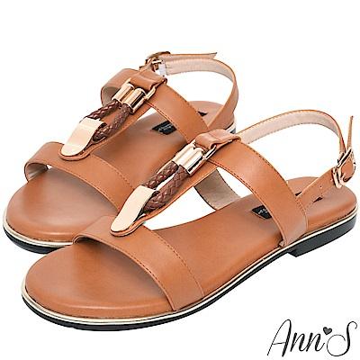 Ann'S名品時尚-編織金扣寬版平底涼鞋-棕