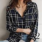 上衣 正韓經典格紋前短後長寬版長袖襯衫(藍) N2