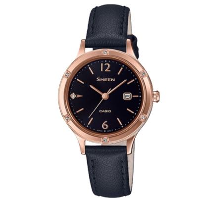 SHEEN 簡約動人藍寶石玻璃設計皮帶腕錶-黑(SHE-4533PGL-1A)/36.7