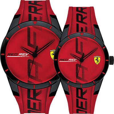 Scuderia Ferrari 法拉利 Red Red 情侶手錶對錶-紅/43+38mm