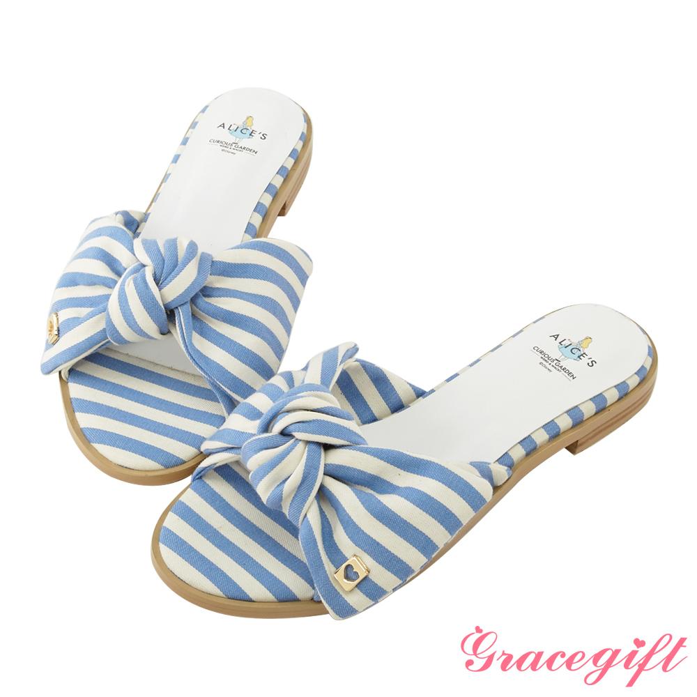 Disney collection by gracegift蝴蝶結寬帶涼拖鞋 條紋