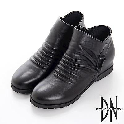 DN 簡約俏麗 嚴選牛皮抓皺造型短靴-黑