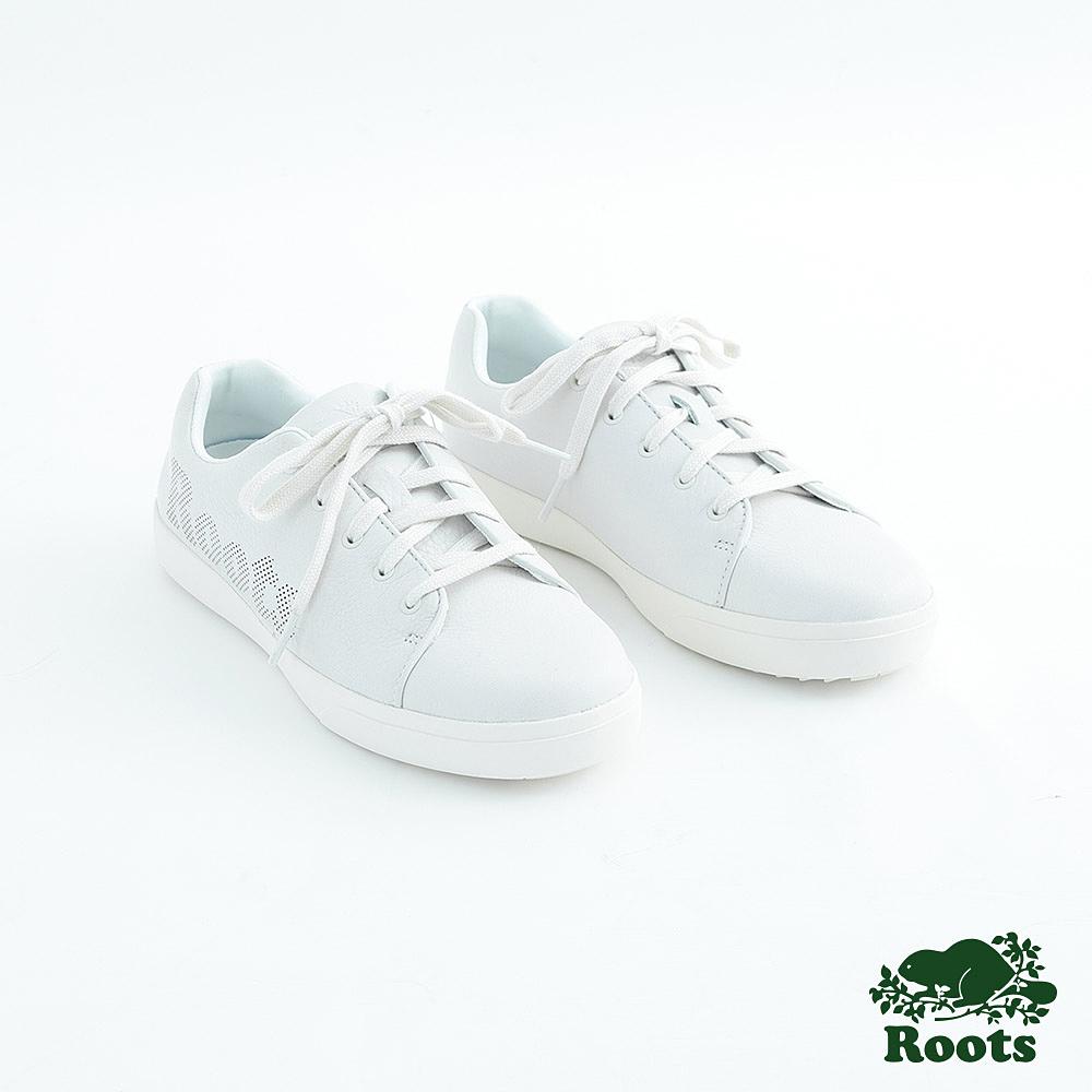 Roots女鞋- 經典皮革綁帶鞋-白