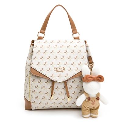 PLAYBOY-  後背包可斜背 四季兔的午茶時光系列 -米白色