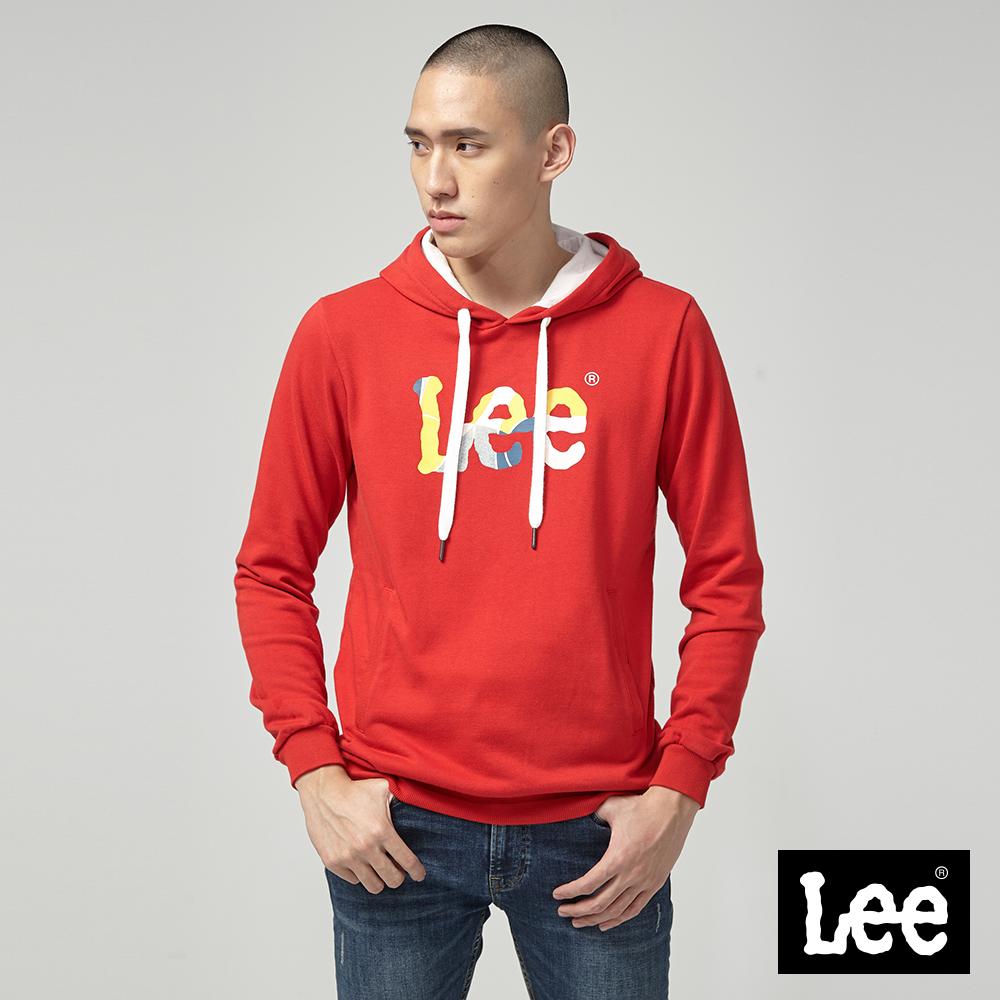 Lee 色塊LOGO印刷長袖連帽TEE/RG紅