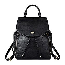 MK MICHAEL KORS EVIE金字LOGO牛皮扣式後背包(中/黑)